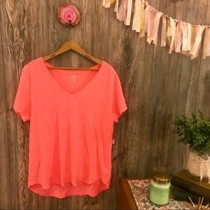 {old navy} everywear neon hot pink v-neck tee l